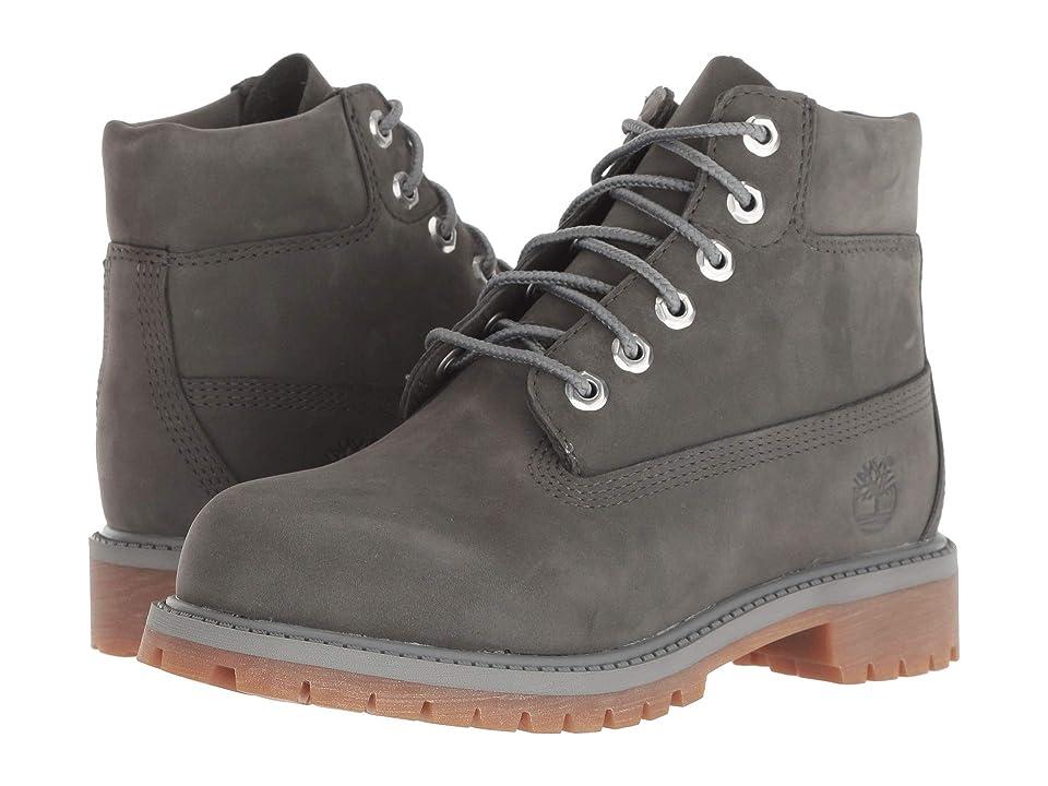 Timberland Kids 6 Premium Waterproof Boot (Little Kid) (Dark Grey Nubuck) Kids Shoes