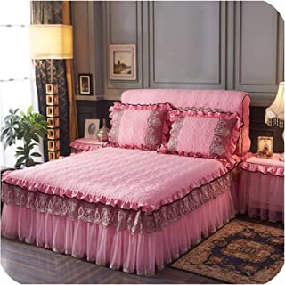 Luxury Thicken Royal Bedspread Set Lace Cotton Filling Bed Skirt Set Pillowcases Bedside Cover Bedding Set Queen King,Dark Pink,180X220Cm Bed Skirt