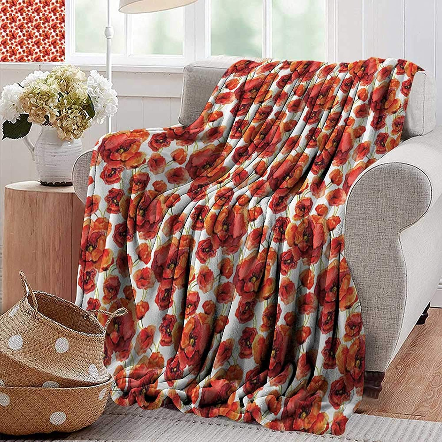 Weighted Blanket for Kids,Floral,Red Poppy Flowers Watercolor Paintbrush Style Effect Nature Idyllic Artsy Print,orange and White,Weighted Blanket for Adults Kids, Better Deeper Sleep 50 x70