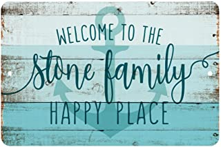 Pattern Pop Personalized Welcome to The Family Happy Place Rustic Nautical Look Metal Sign