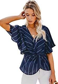 SZIVYSHI Half Sleeve Batwing Dolman Sleeve Deep V Neck Twisted Front Striped Stripe Blouse Shirt Peplum Top
