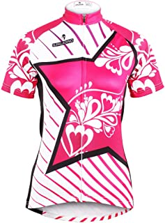 QinYing Women Star Breathable Cycling Pink Jersey Shirt