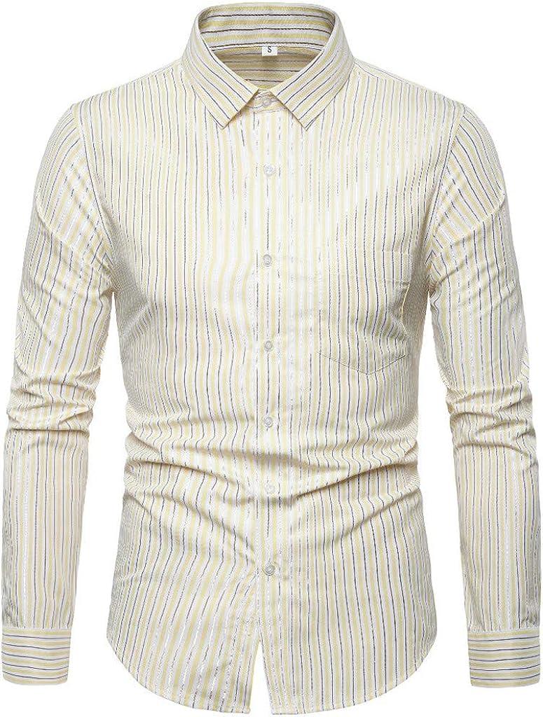 MODOQO Men's Regular Fit Button Down Dress Shirt Long Sleeve Stripe Shirt