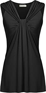 Womens Summer Tunic Tanks Casual V Neck Cross-Front Twist Knot Sleeveless Shirt Tops