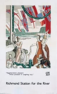 London Underground - Richmond Station for the River Vintage Poster (artist: Dupas) England c. 1933 (16x24 Giclee Gallery Print, Wall Decor Travel Poster)