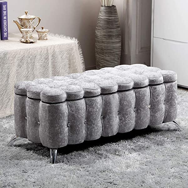 DWW Luxurious Velvet Upholstered Bench Storage Lift Top Ottoman Seat Stool Crystal Button Tufted Bench For Sofa Bedside End Entryway Purple Color Gray Size 90cm