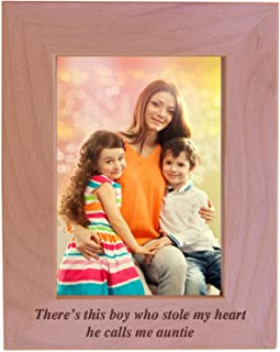 CustomGiftsNow There's This boy who Stole My Heart he Calls me Auntie - Engraved Wood Picture Frame (5x7 Vertical)