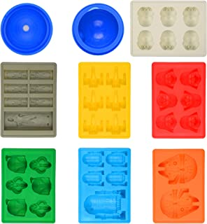 Star Wars Silicone Molds, Ice Cube Trays Cake Soap Candle Candy Chocolate Baking Molds; Millennium Falcon, Stormtrooper, R2-D2, Darth Vader, X-Wing Fighter, Han Solo, Boba Fett and Death Star (8 Pack)