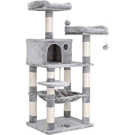 FEANDREA 56.3-Inch Multi-Level Cat Tree with Sisal-Covered Scratching Posts, Plush Perches, Hammock, and Condo, Cat Tower Furniture, for Kitten, Pet