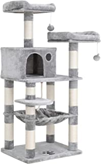 """SONGMICS 58"""" Multi-Level Cat Tree with Sisal-Covered Scratching Posts, Plush Perches, Hammock and Condo, Cat Tower Furniture - for Kittens, Cats and Pets UPCT15W"""