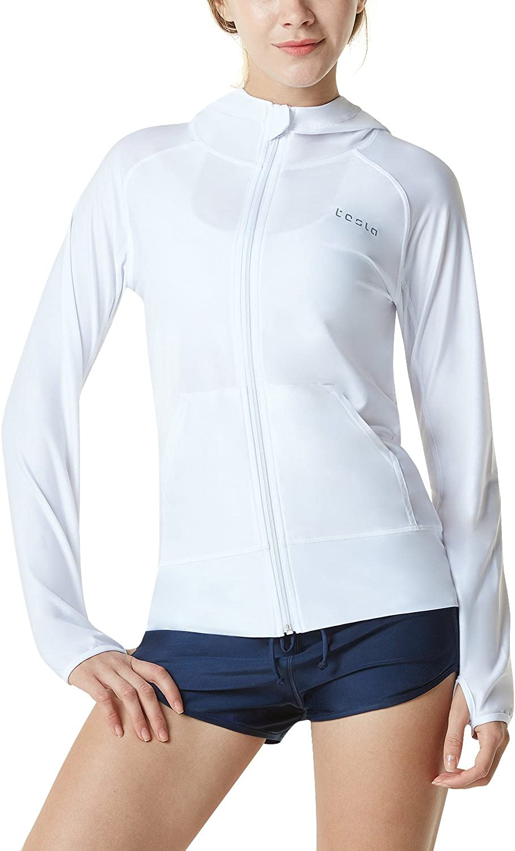 TSLA Women's Hoodie Zip Front Rash Guard, UPF 50+ Long Sleeve Swim Shirts, UV/SPF Sunscreen Wetsuit Swimsuit Top