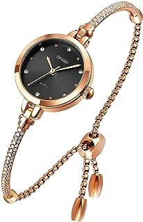 ساعة نسائية من ROAISS بسوار ساعة تناظرية لفتاة كوارتز مع الماس ساعة يد أنيقة مقاومة للماء ساعة يد للسيدات هدية صديقة