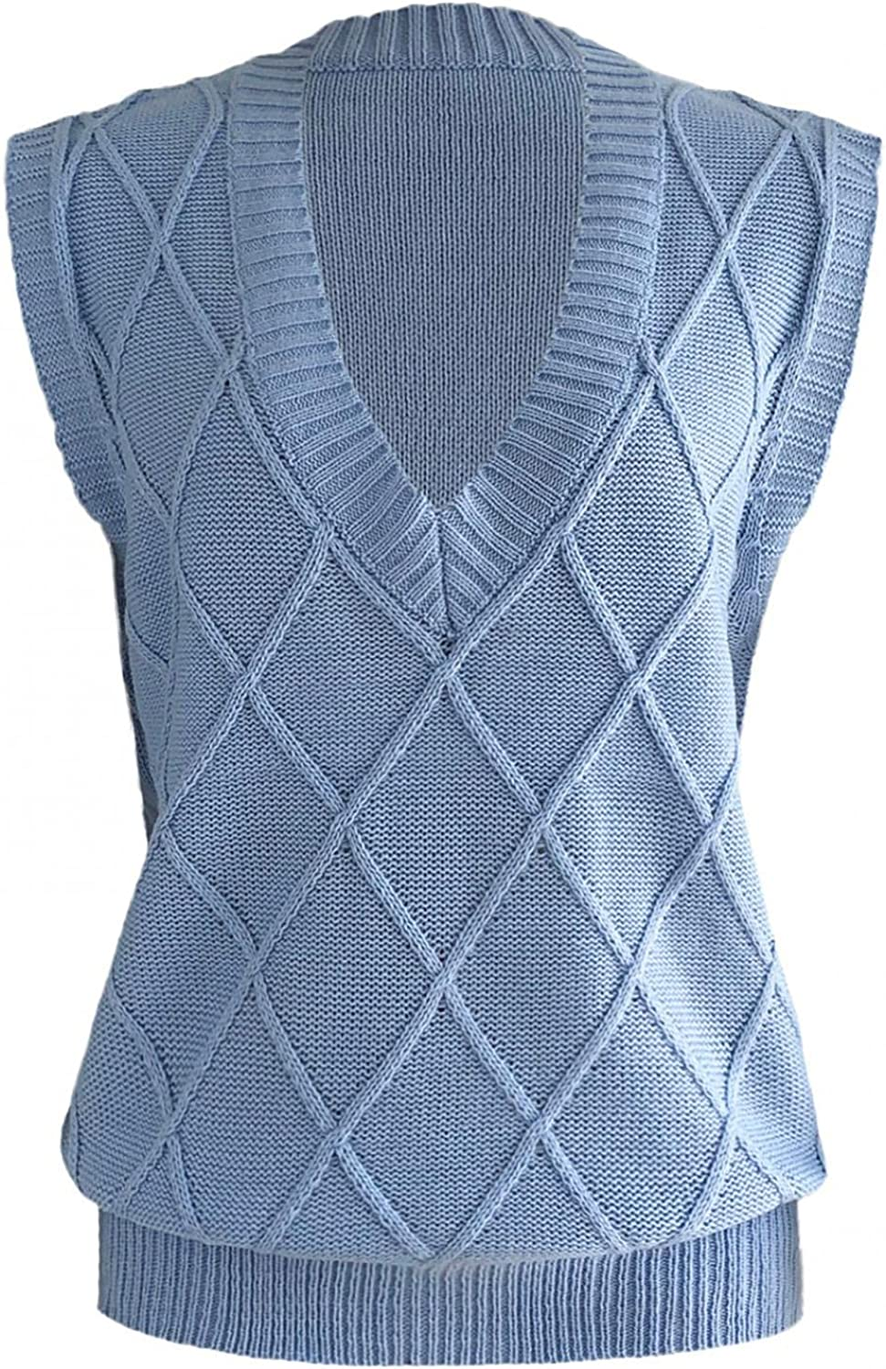 Yamart Womens Knit Sweater Vest Lingge V-Neck Casual Sweater Lightweight Solid Color Sweater Jumper Tops
