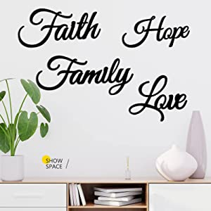4 Pieces Faith Love Hope Family Metal Wall Decor Rustic Vintage Farmhouse Metal Sign Black Metal Wall Art Metal Wall Word Sculpture for Home, Office, Living Room Decoration