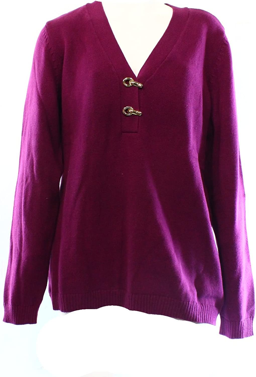 CHARTER CLUB Women's Plus Size Buckled-clasp Detail V Neck Sweater Top