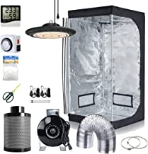 Hydro Plus 600W Full Spectrum UFO LED Light+32''x32''x63'' Grow Tent+4'' Filter Fan Kit+Hydroponic Indoor Plants Growing System Accessories(Actual Power: 200W)