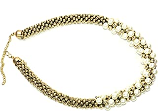 Frolics India Golden and White Pearls And Stones Studded Short Necklace For Women & Girls
