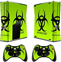 Skin for Xbox 360 Slim Sticker Decals for X360 Custom Cover Skins for Xbox360 Slim Modded Console Game Accessories Set Decal Stickers 2 Remote Controllers - Biological Harzard