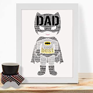 IGSUKCB Personalised Print Fathers Day Birthday Gifts for Daddy Batman Word Art #754