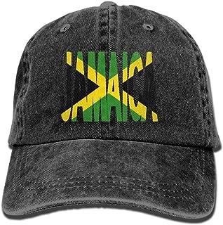 Jamaica Text with Jamaican Flag Dad Hat Adjustable Denim Hat Classic Baseball Cap