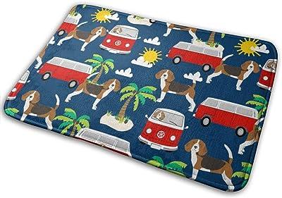 """Beagle Palm Trees Cute Dog - Navy_26704 Doormat Entrance Mat Floor Mat Rug Indoor/Outdoor/Front Door/Bathroom Mats Rubber Non Slip 23.6"""" X 15.8"""""""