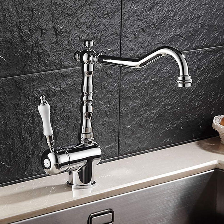 FZHLR European Luxury Chrome Kitchen Sink Faucet Single Handle Single Hole Brass Kitchen Sink Taps 360 Degree Swivel Cold Hot Water Tap Deck Mounted
