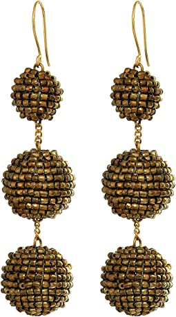 Beaded Pom Pom Ball Earrings