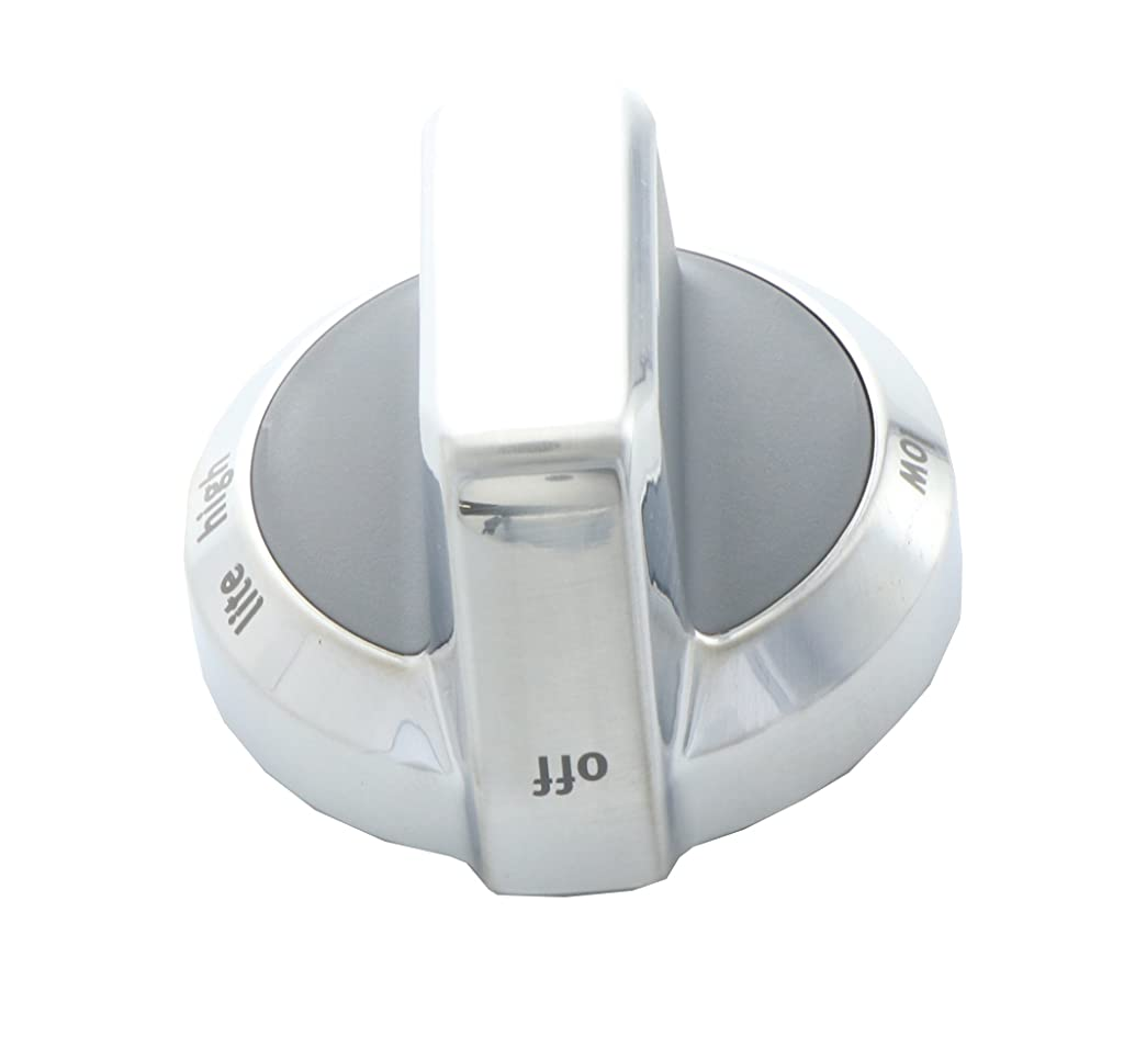 Kitchen Basics 101 W10111302 Replacement for Whirlpool Kitchenaid Range Burner Knob Chrome AP4481179 PS2366253