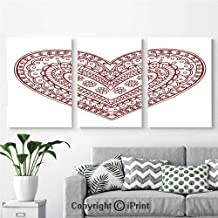 Canvas Prints Modern Art Framed Wall Mural Paisley Doodle in Heart Shapes Little Blossoms Swirls Curves Hippie Sixties Influence for Home Decor 3 Panels ,Wall Decorations for Living Room Bedroom Dini