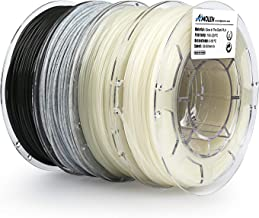 AMOLEN PLA 3D Printer Filament, 1.75mm, Set with Glow in The Dark Blue and Green, Marble, Tri Color Change Lava, 4 Spools Pack,3 Spool 200g and 1 Spool 225g, Includes Sample Wood and Bronze Filament