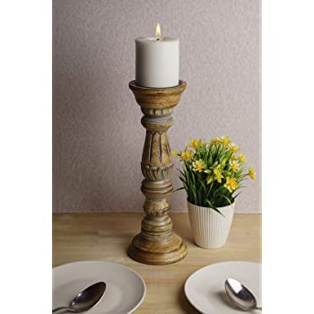 Buy Casadecor Fay Wooden Candle Stand Holder For Home Decor Dining Table Grey Online At Low Prices In India Amazon In