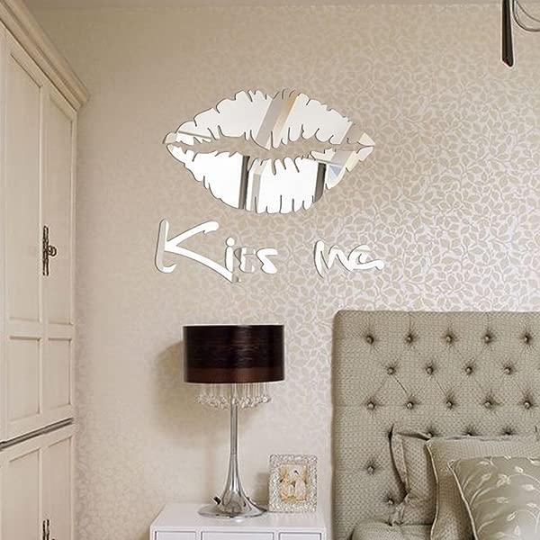 NIHAI Kiss Me Letter Lips Acrylic Mirror Wall Sticker Removable Art Mural Decor For Kids Bedroom Living Room Office Wardrobe Dining Room Corridor Murals 30 X 25 Cm Silver