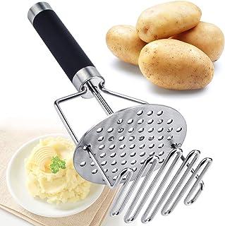 رافعة بطاطس من الفولاذ المقاوم للصدأ من بوتيتو ماشر، 24.8 سم لرمي البطاطس المهروسة، أداة مطبخ ماهر مع تصميم مزدوج الضغط