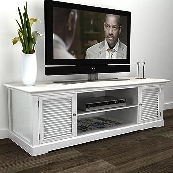 UnfadeMemory Mueble para TV de Madera,Mesa para TV,Mesa Baja para Televisor para Salón Dormitorio,Estilo Vintage,Blanco,121x30,5x41,7cm: Amazon.es: Hogar