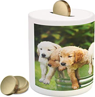 Lunarable Dog Lover Piggy Bank, Group of Golden Retriever Puppies in The Yard Spring Friendly Family, Ceramic Coin Bank Money Box for Cash Saving, 3.6