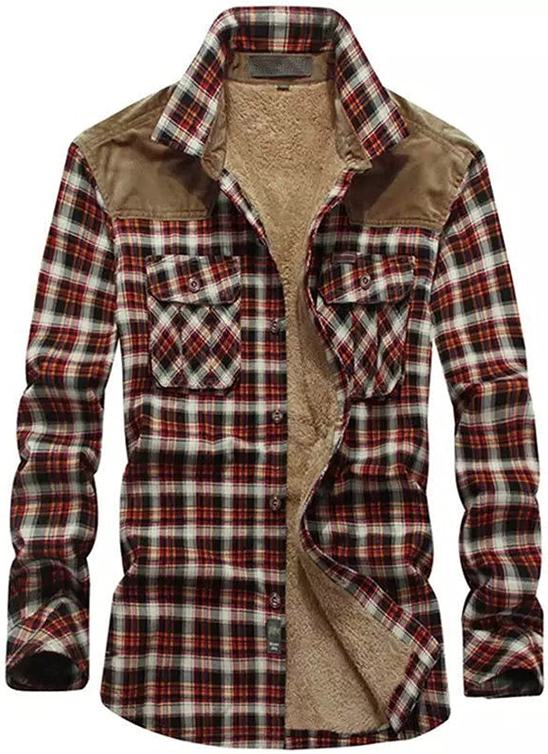 Men's Plaid Stamp Jackets,Long Sleeved Warm Lined Plush Thicken Shirt V16