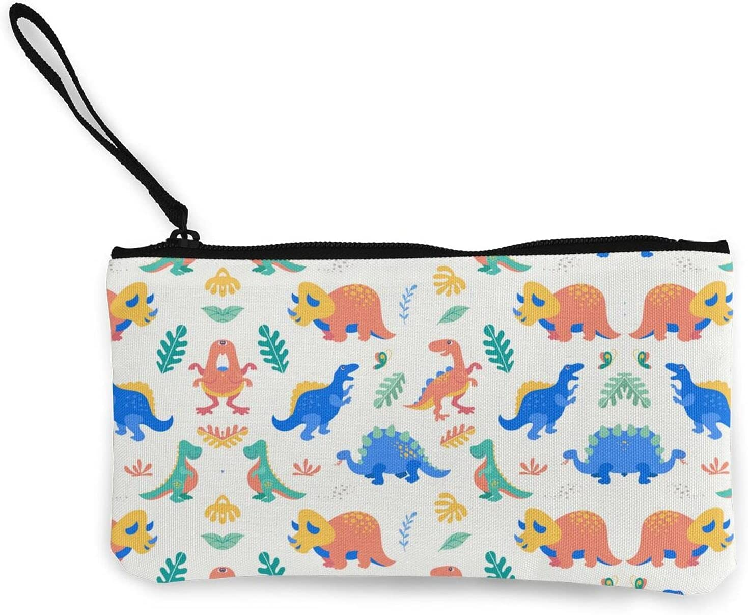 Cute Dinosaur Pattern Dino Print Zipper Pouch/ Canvas Coin Purse Wallet/ Cute Mini Change Wallet For Women/ Pouch Card Holder Phone Storage Bag