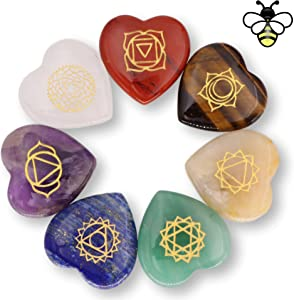 NatureWonders All Natural 7 Chakra Stone Set (Heart-Shaped) with Engraved Symbols (Gift Box, Information Brochure & Pouch) - Healing Crystals, Balancing, Tumbled Palm Stone, Touchstone, Meditation