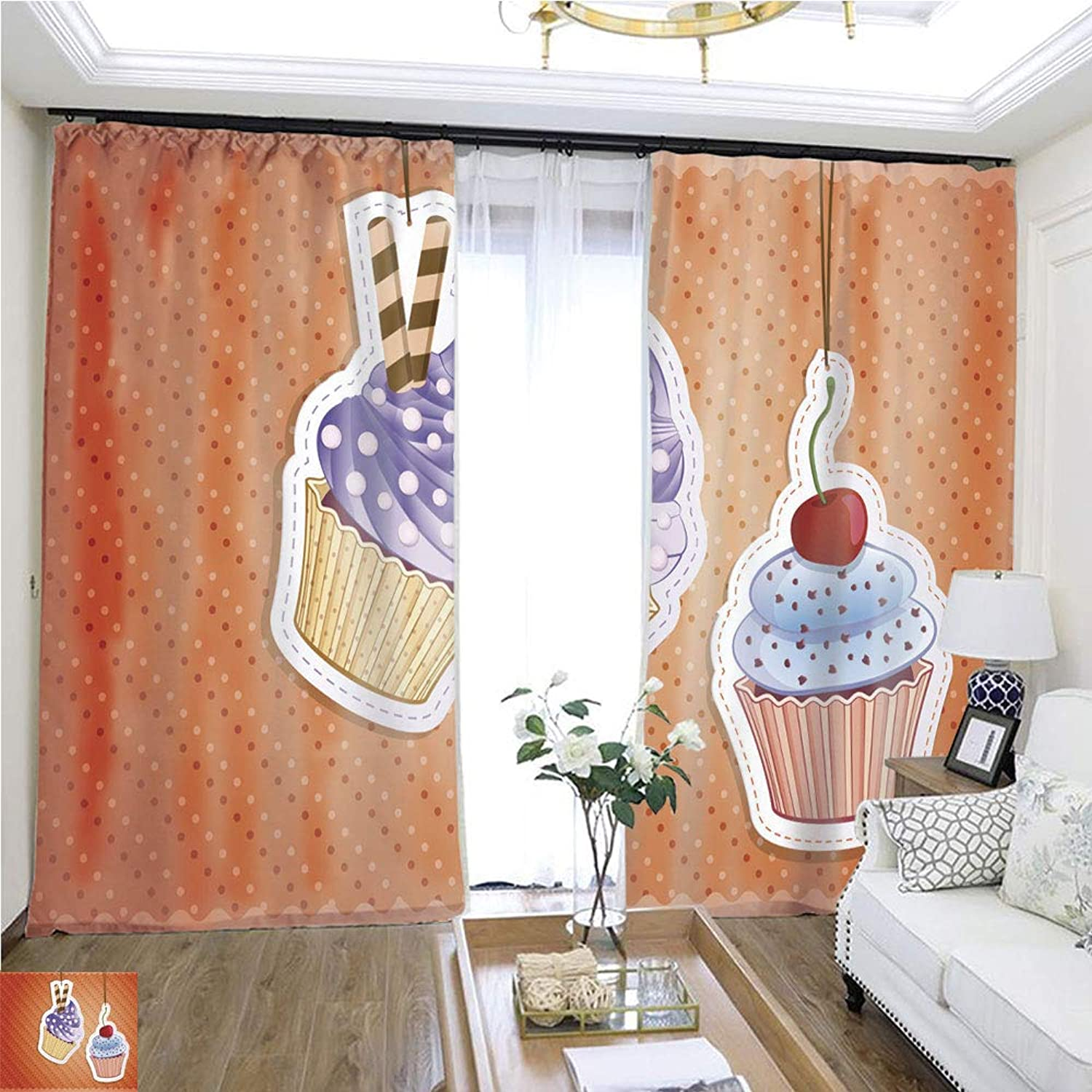 Air Port Screen Cupcake Stickers W96 x L216 Block The Sun Highprecision Curtains for bedrooms Living Rooms Kitchens etc.