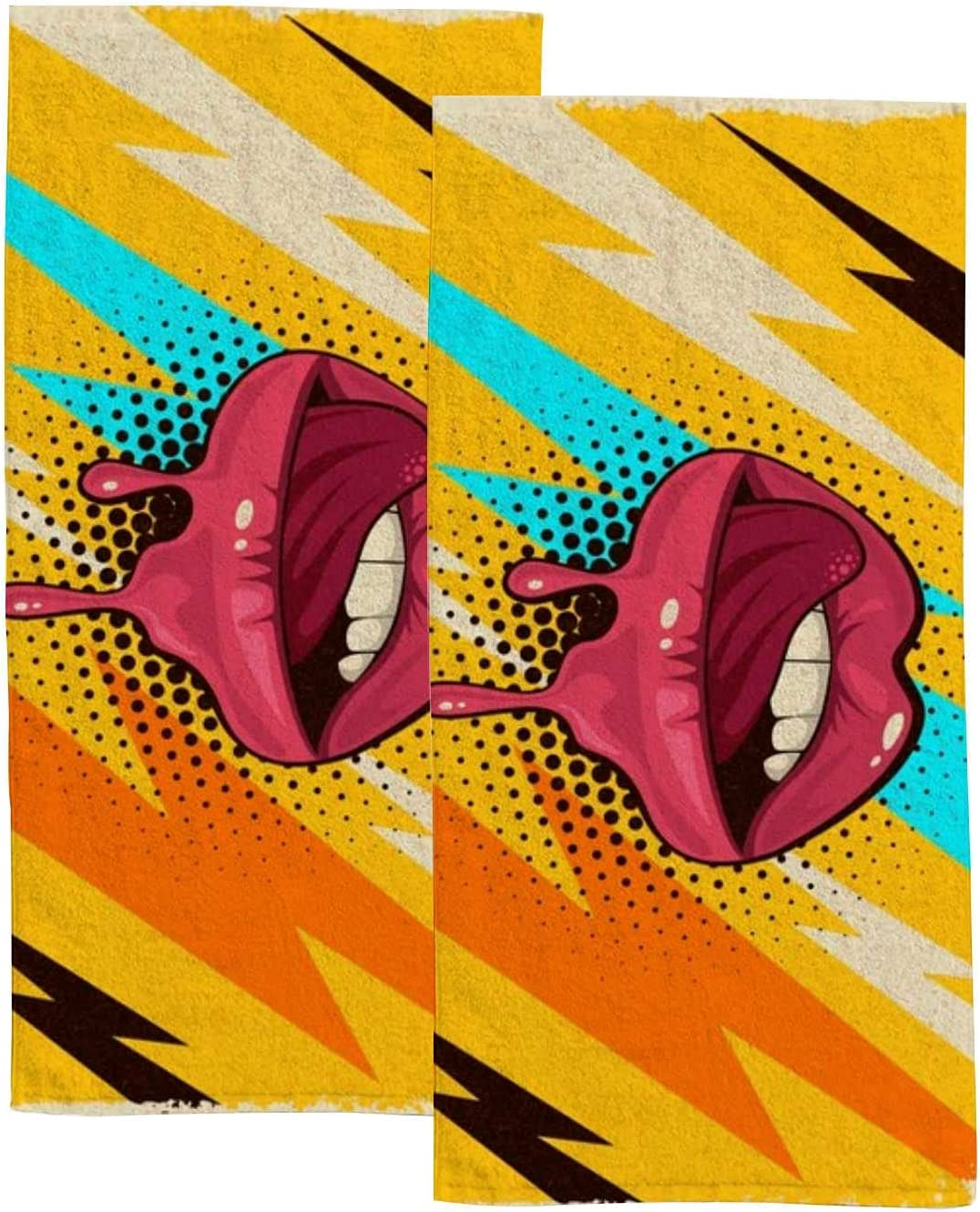 Colorful Retro Max 44% OFF Lips Hand Towels Set 2 Bathroom Towel for Some reservation Kitchen