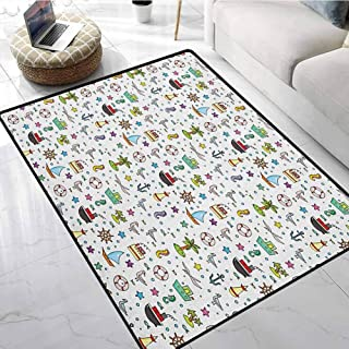Kids Mats for Bedroom 6.7x10 ft Nautical Cartoon Elements Ships Flying Birds Buoy Starfishes Palm Trees and Bubbles Floor mats for Kitchen
