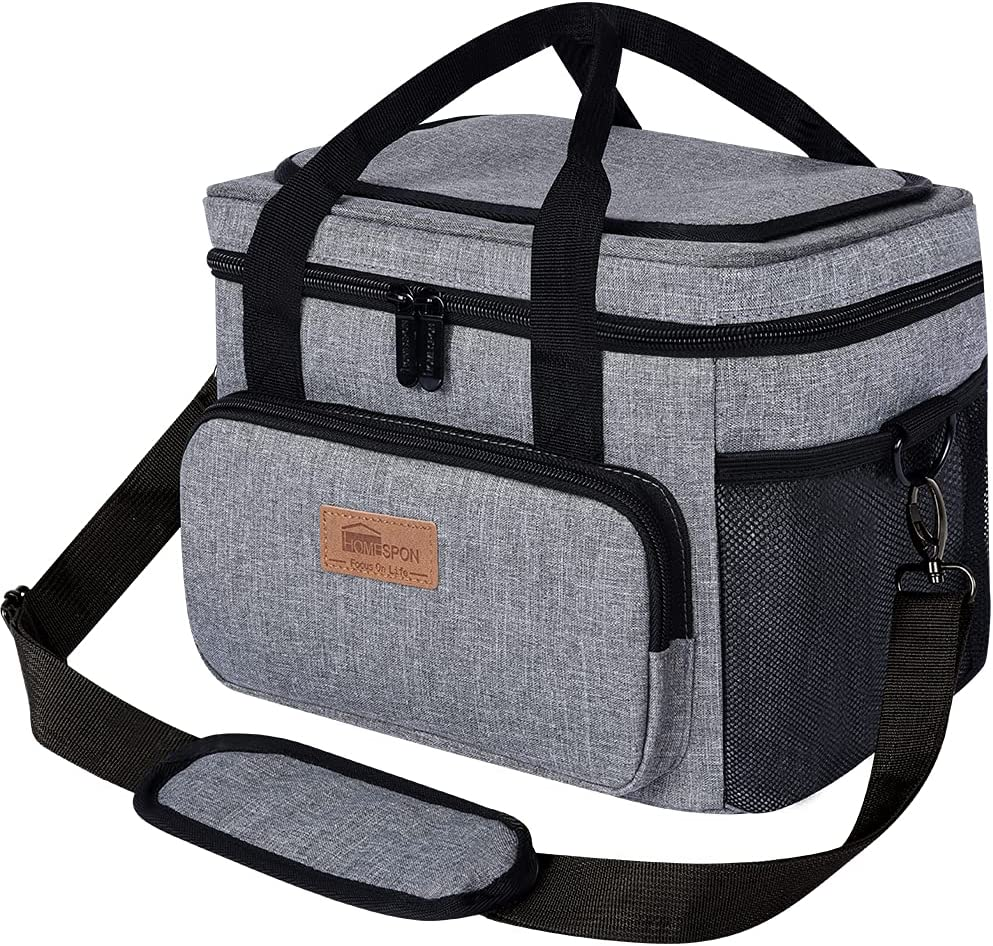 HOMESPON Insulated Lunch Bag Cooler Totes Reusable Leakproof Thermos Drinks Holder Container for Picnic Hiking Beach Fishing (Gray, 10.5L)