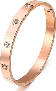 MVCOLEDY Jewelers Rose Gold Plated Bangle Bracelet All Zirconia Stone Stainless Steel Crystal Bangle Bracelets Women Jewelry Size 7
