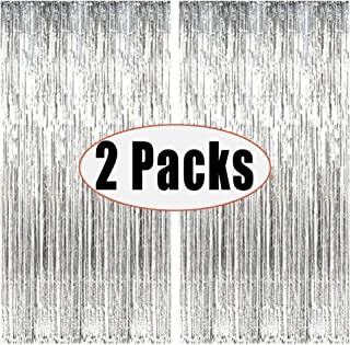 FECEDY 2pcs 3ft x 8ft Silver Metallic Tinsel Foil Fringe Curtains Photo Booth Props for Birthday Wedding Engagement Bridal Shower Baby Shower Bachelorette Holiday Celebration Party Decorations