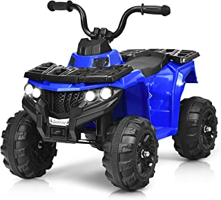 HONEY JOY Kids Ride On ATV, 4-Wheeler Quad, 6V Battery Powered Electric Vehicle with Headlights, Music, MP3, USB, AUX, Adjustable Volume (Blue)