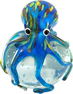 Blue Blown Glass Octopus Paperweight, 4 1/2 Inches