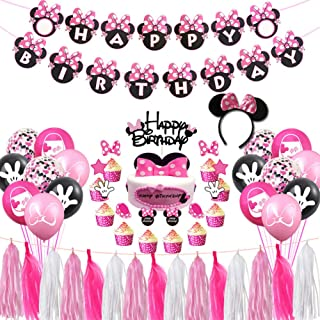 Minnie Mouse Birthday Party Supplies Decorations, Pink and Black Ears Headband Happy Birthday Banner, Glittery Minnie Insp...