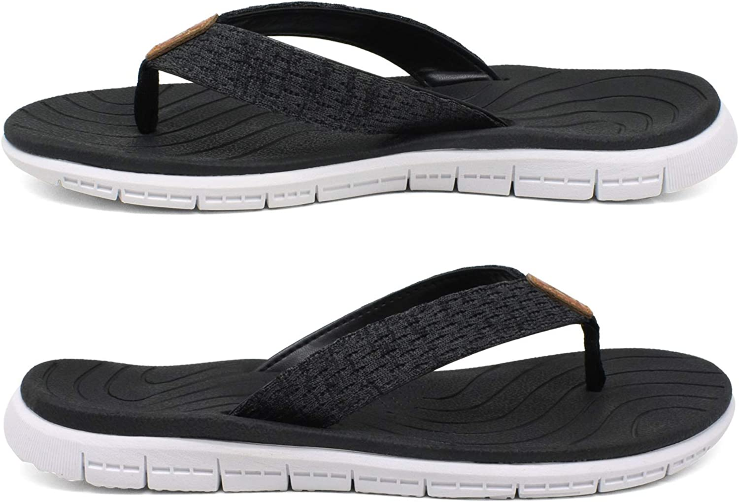 KuaiLu Flip Flops for Women Leather Arch Support Ladies Summer Holiday Beach Sandals Non Slip Soft EVA Sole Pool Shower Thongs