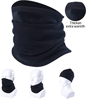 Neck Gaiter Warmer Windproof Mask Fleece - Free UV Face Mask Black