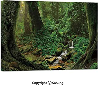 Wall Art Decor High Definition Wonderland Forest Nepal Asian Jungle Rainforests Habitat Wild Primeval Picture Painting Home Decoration Living Room Bedroom Background,16x24inch Green